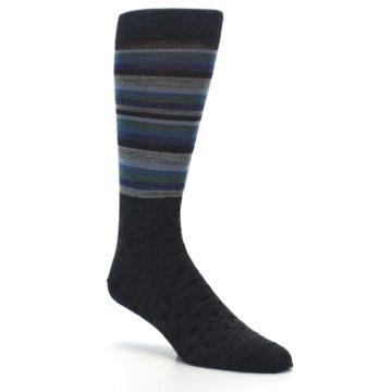 Image of Blue Green Thin Stripe Wool Lifestyle Men's Socks (side-1-27)