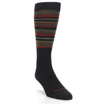 Image of Brown Green Stripe Wool Men's Dress Socks (side-1-front-02)