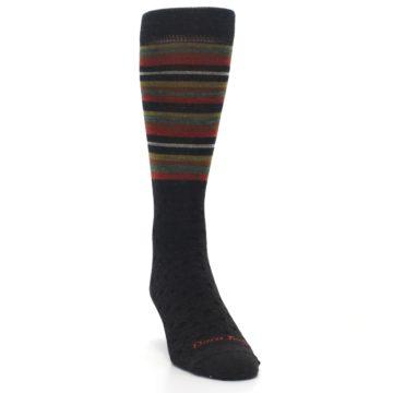 Image of Brown Green Stripe Wool Men's Dress Socks (side-1-front-03)