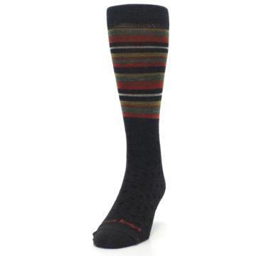 Image of Brown Green Stripe Wool Men's Dress Socks (side-2-front-06)