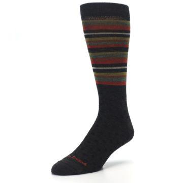 Image of Brown Green Stripe Wool Men's Dress Socks (side-2-front-08)