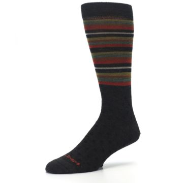 Image of Brown Green Stripe Wool Men's Dress Socks (side-2-09)