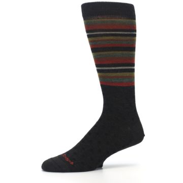 Image of Brown Green Stripe Wool Men's Dress Socks (side-2-10)
