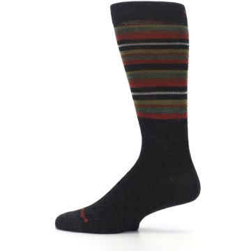 Image of Brown Green Stripe Wool Men's Dress Socks (side-2-12)
