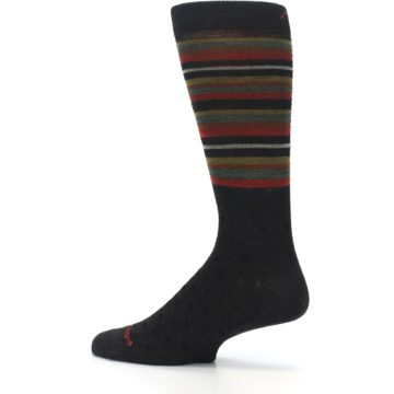 Image of Brown Green Stripe Wool Men's Dress Socks (side-2-13)