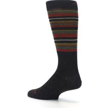 Image of Brown Green Stripe Wool Men's Dress Socks (side-2-back-14)