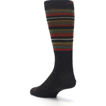 Image of Brown Green Stripe Wool Men's Dress Socks (side-2-back-15)