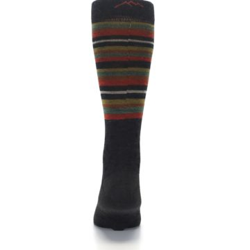 Image of Brown Green Stripe Wool Men's Dress Socks (back-18)