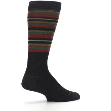Image of Brown Green Stripe Wool Men's Dress Socks (side-1-23)