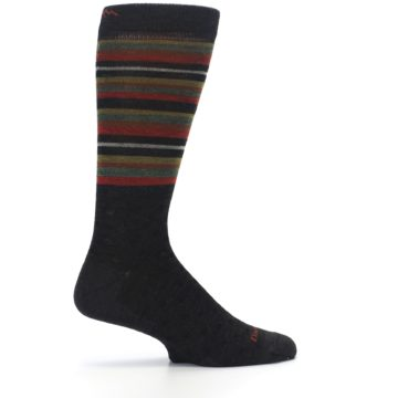 Image of Brown Green Stripe Wool Men's Dress Socks (side-1-24)