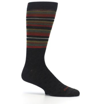 Image of Brown Green Stripe Wool Men's Dress Socks (side-1-25)
