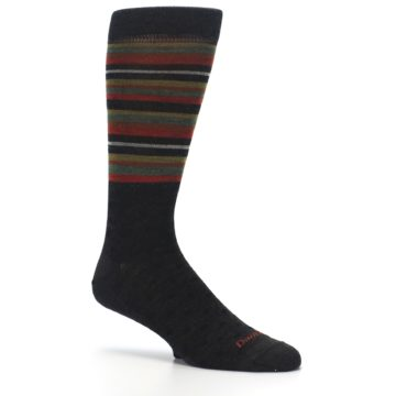 Image of Brown Green Stripe Wool Men's Dress Socks (side-1-26)