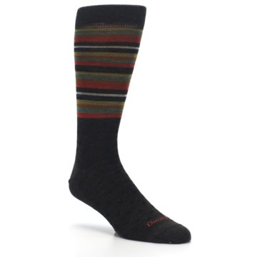 Image of Brown Green Stripe Wool Men's Dress Socks (side-1-27)