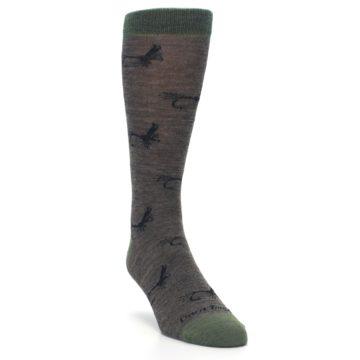 Image of Brown Green Wool Fly Fishing Men's Wool Socks (side-1-front-02)