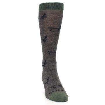 Image of Brown Green Wool Fly Fishing Men's Wool Socks (side-1-front-03)