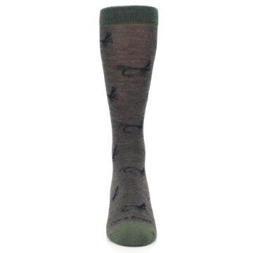 Image of Brown Green Wool Fly Fishing Men's Wool Socks (front-04)