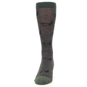 Image of Brown Green Wool Fly Fishing Men's Wool Socks (front-05)
