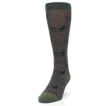Image of Brown Green Wool Fly Fishing Men's Wool Socks (side-2-front-06)