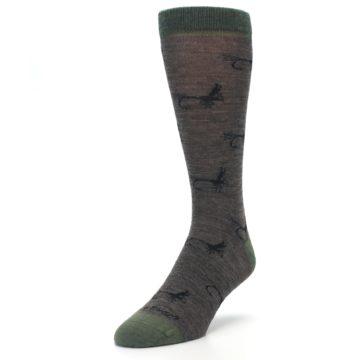 Image of Brown Green Wool Fly Fishing Men's Wool Socks (side-2-front-07)