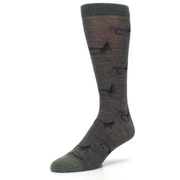 Image of Brown Green Wool Fly Fishing Men's Wool Socks (side-2-front-08)