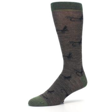 Image of Brown Green Wool Fly Fishing Men's Wool Socks (side-2-09)