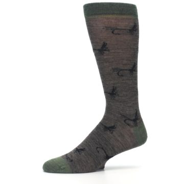 Image of Brown Green Wool Fly Fishing Men's Wool Socks (side-2-10)