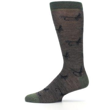 Image of Brown Green Wool Fly Fishing Men's Wool Socks (side-2-11)
