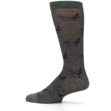 Image of Brown Green Wool Fly Fishing Men's Wool Socks (side-2-12)