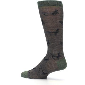 Image of Brown Green Wool Fly Fishing Men's Wool Socks (side-2-13)