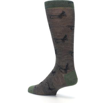Image of Brown Green Wool Fly Fishing Men's Wool Socks (side-2-back-14)