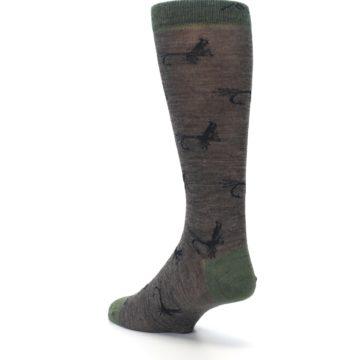 Image of Brown Green Wool Fly Fishing Men's Wool Socks (side-2-back-15)