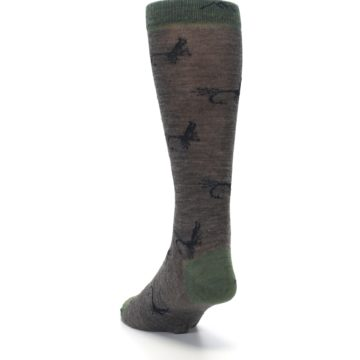 Image of Brown Green Wool Fly Fishing Men's Wool Socks (side-2-back-16)