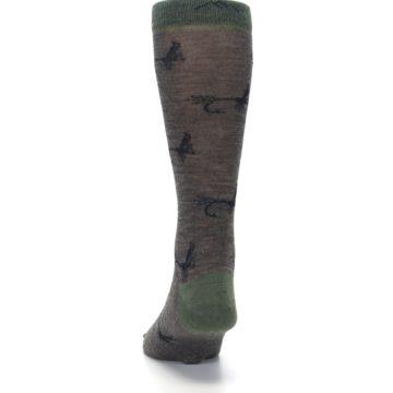 Image of Brown Green Wool Fly Fishing Men's Wool Socks (back-17)
