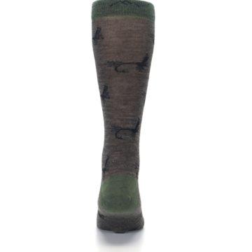 Image of Brown Green Wool Fly Fishing Men's Wool Socks (back-18)