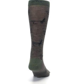 Image of Brown Green Wool Fly Fishing Men's Wool Socks (back-19)