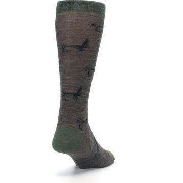 Image of Brown Green Wool Fly Fishing Men's Wool Socks (side-1-back-20)
