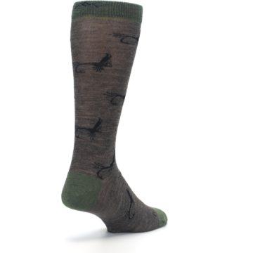 Image of Brown Green Wool Fly Fishing Men's Wool Socks (side-1-back-21)
