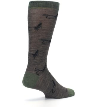 Image of Brown Green Wool Fly Fishing Men's Wool Socks (side-1-back-22)