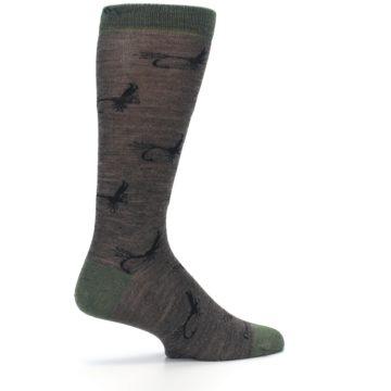 Image of Brown Green Wool Fly Fishing Men's Wool Socks (side-1-23)