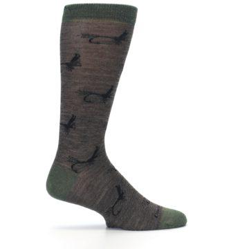 Image of Brown Green Wool Fly Fishing Men's Wool Socks (side-1-24)