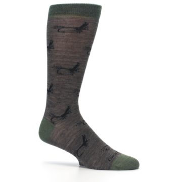 Image of Brown Green Wool Fly Fishing Men's Wool Socks (side-1-25)