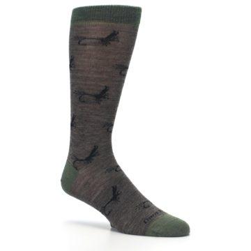 Image of Brown Green Wool Fly Fishing Men's Wool Socks (side-1-26)