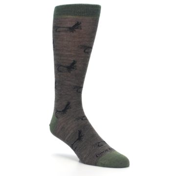 Image of Brown Green Wool Fly Fishing Men's Wool Socks (side-1-27)