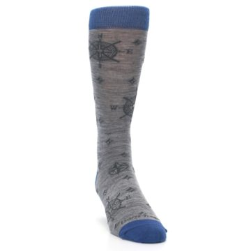Image of Grey Blue Nautical Compass Men's Wool Lifestyle Socks (front-04)