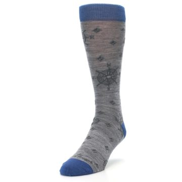 Image of Grey Blue Nautical Compass Men's Wool Lifestyle Socks (side-2-front-08)