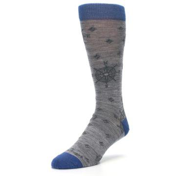 Image of Grey Blue Nautical Compass Men's Wool Lifestyle Socks (side-2-09)