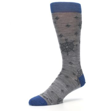Image of Grey Blue Nautical Compass Men's Wool Lifestyle Socks (side-2-10)
