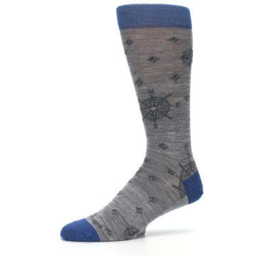 Image of Grey Blue Nautical Compass Men's Wool Lifestyle Socks (side-2-11)