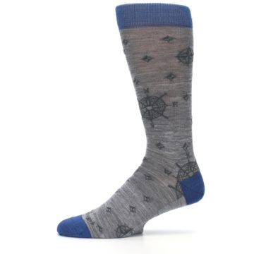 Image of Grey Blue Nautical Compass Men's Wool Lifestyle Socks (side-2-12)