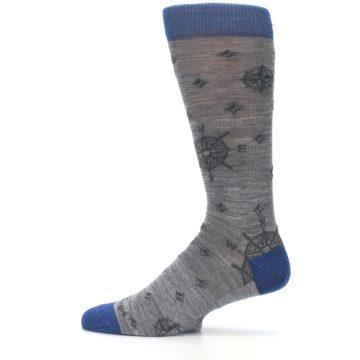 Image of Grey Blue Nautical Compass Men's Wool Lifestyle Socks (side-2-13)
